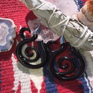 Black Spiral Design Hoop Earings